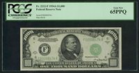 1934 A $1000 Fr.2212 F Atlanta PCGS 65 PPQ scarce Gem Best and Lowest 65 Gem