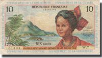 10 Francs Undated (1964) French Antilles Banknote, Km:8b