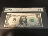 1969 $1 Federal Reserve Note FRN CU Unc Boston A-STAR PMG GEM 66