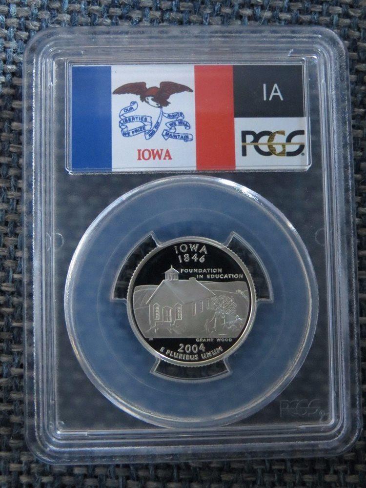 2004-S 25c Iowa SILVER State Flag Label Quarter Proof Coin PCGS PR70 DCAM
