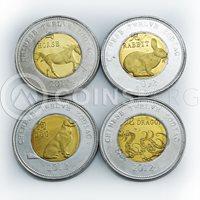 Somaliland 10 shillings Set of 11 coins Lunar Calendar bimetal 2012