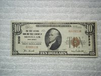 1929 $10 Montclair New Jersey NJ National Currency T1 # 9339 1st Natl B & TC of