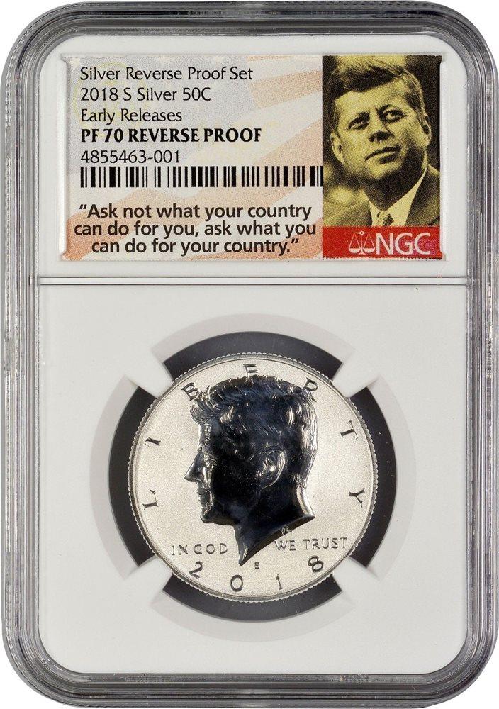 2018 S 50C Silver Kennedy Half Dollar PCGS PR70DCAM