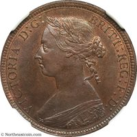 1887 Halfpenny Great Britain NGC MS64BN