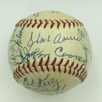 1954 Hank Aaron Rookie Milwaukee Braves Team Signed Baseball PSA DNA COA