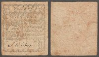 Colonial Currency Seven Pence 1777 Hartford CT Fine
