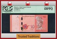 10 Ringgit 2012 Malaysia Tunku Abdul Rafflesia Pcgs 68 Ppq Superb!