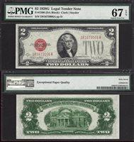 $2 1928-G LEGAL TENDER SEMI-KEY FIRST YR SMALL SIZE PMG SUPERB GEM UNC 67 EPQ