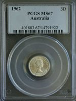 Australia 1962 Threepence PCGS MS67