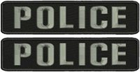 2 POLICE embroidery patches 2x9 hook on back