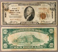 Green Lane PA $10 1929 T-1 National Bank Note Ch #9084 Valley NB Fine