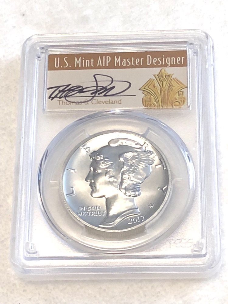 2017 SILVER EAGLE PCGS MS70 THOMAS CLEVELAND FIRST DAY OF ISSUE ART DECO LABEL
