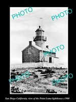OLD POSTCARD SIZE PHOTO OF SAN DIEGO VIEW OF POINT LOMA LIGHTHOUSE c1900