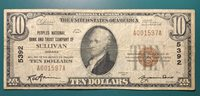Small Size National Note 1929 Sullivan, IN Charter 5392 $10 Not Certified