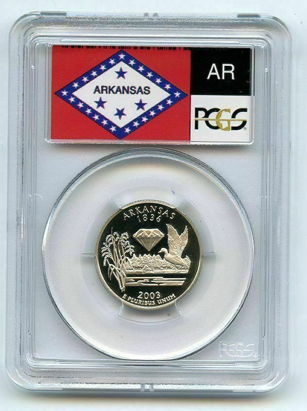 2003-S 25c Arkansas SILVER State Flag Label Quarter Proof Coin PCGS PR70DCAM