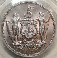 British North Borneo Cent 1891-H, GEM Uncirculated PCGS MS-65BN, Stunning Coin!