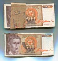 YUGOSLAVIA BUNDLE OF 100 NOTES 1991 P109 500 DINARA VF-F Circulated Condition