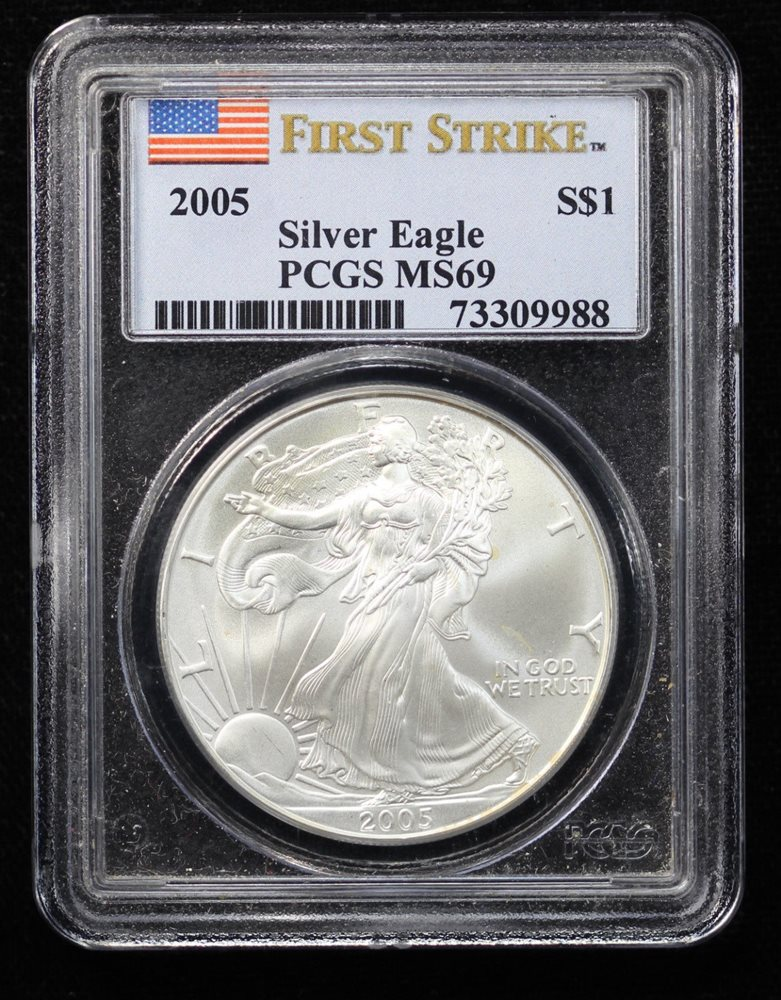 2019 $1 American Silver Eagle PCGS MS70 First Strike Blue Flag Label