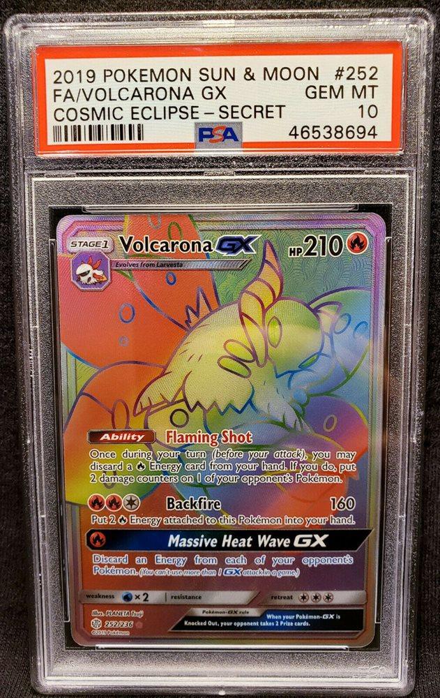 PSA 10 GEM MINT Volcarona GX 35//236 SM Cosmic Eclipse HOLO RARE Pokemon Card