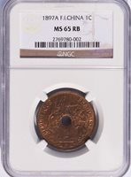 1897 A French Indo China 1 Cent, NGC MS 65 RB, Red Brown, Cochin, Vietnam