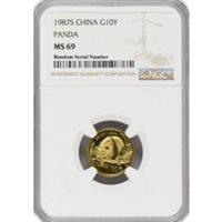 1987 S 10 Yuan Peoples Republic Of China 1/10 oz 999 Chinese Gold Panda NGC MS69