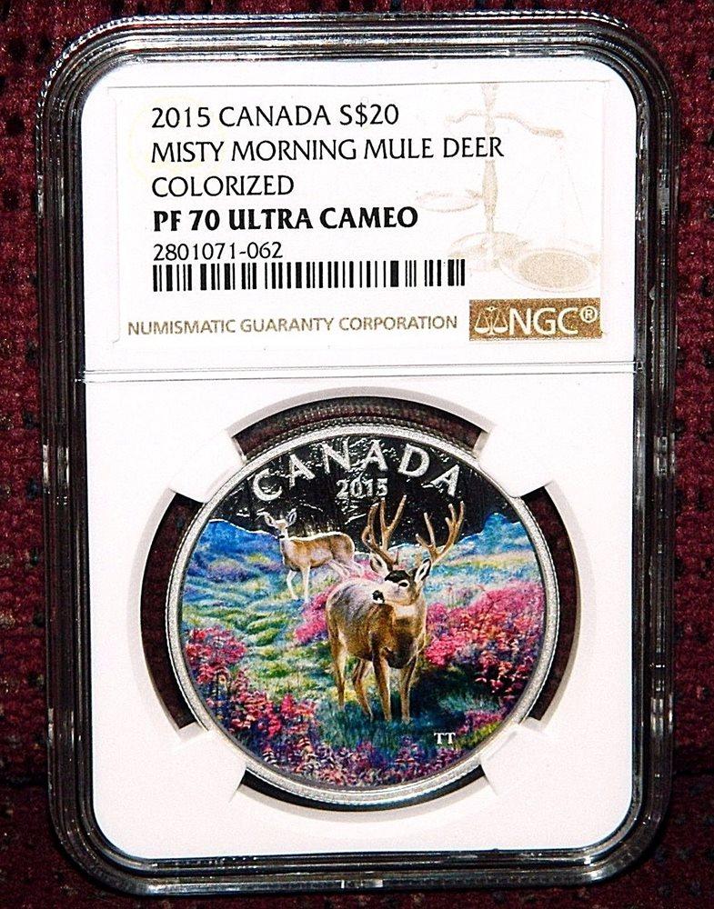 99.99/% Pure Silver Color Proof Coin Canada 2015 $20 Majestic Elk 1 oz