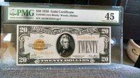 1928 FR# 2402 (AA BLOCK)-- $20 GOLD CERTIFICATE PAPER MONEY NOTE PMG 45