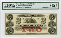 1800's $2 The Salmon Falls Bank - Rollinsford, NEW HAMPSHIRE Note PMG Gem 65 EPQ