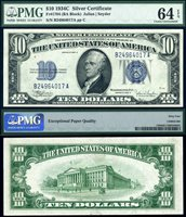 US Currency 1934C $10 Silver Certificate FR-1704