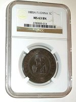 French Indo-china, 1885A, Cent, Bronze, NGC MS-63