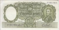 Argentina P276 Col 486a 50 Pesos sfx D Sig Ianella-Real, scarce, stain at top AU