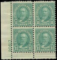 Lot id: 239 - 692 Rutherford B Hayes Plate Blk MNHMint Never Hinged Plate Block Lower Left Position