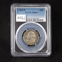 1960 D Washington Silver Quarter, PCGS Certified MS66, Gem Uncirculated, In Holder