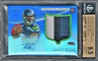 RUSSELL WILSON 2012 TOPPS PLATINUM BLUE 3-COLOR PATCH AUTO RC /25 BGS 9.5/10!!!