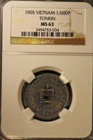 1905 Vienam Tonkin 1/600 Piestre NGC MS 63 ** FREE U.S. SHIPPING **