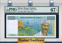 10,000 Francs 1999 Djibouti Sea Pmg 67 Epq Superb Gem None Finer!