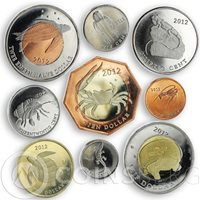 St. Eustatius, Sea Creatures, Set of 9 coins 2012