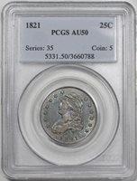 1821 Bust Quarter B-5 R-4+ PCGS AU-50 Toned