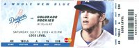 2013 Dodgers vs Rockies Ticket: Zack Greinke 2 hit shutout complete game win