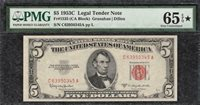 *STAR DESIGNATION* 1953C $5 Legal Tender Note PMG Gem Uncirculated CU 65EPQ C2C