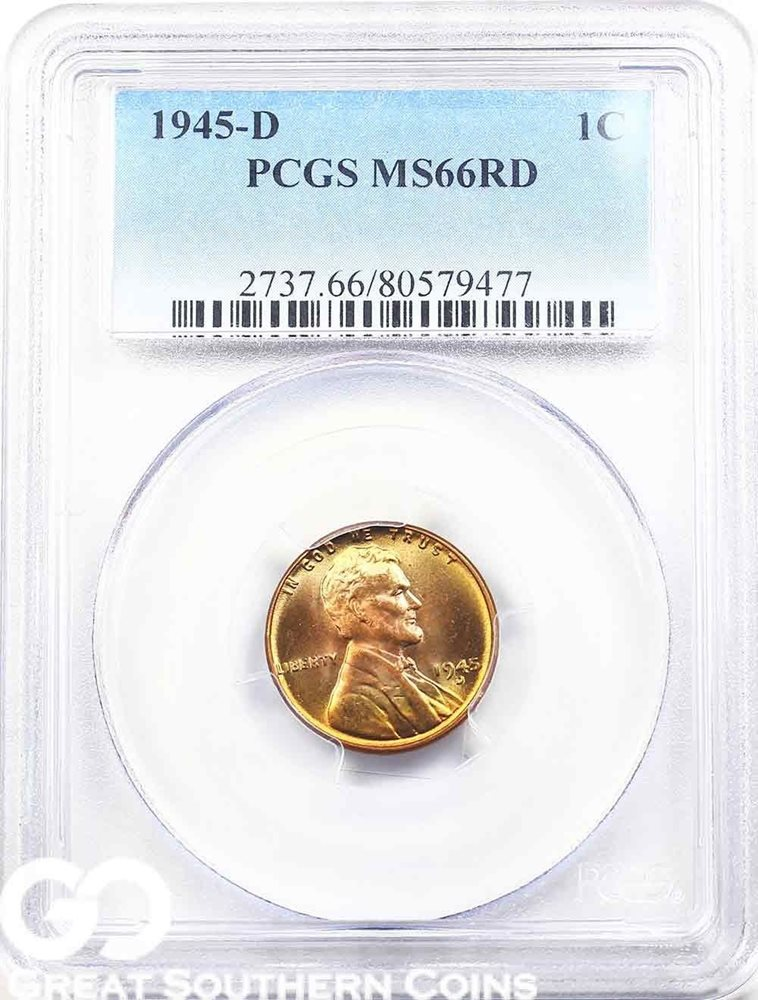 1945-D PCGS Lincoln Cent Wheat Penny, RED, PCGS MS 66 RD
