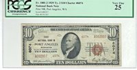 """1929 $10 NBN CHARTER 6074 """"THE FIRST NATIONAL BANK IN PORT ANGELES WASHINGTON"""""""