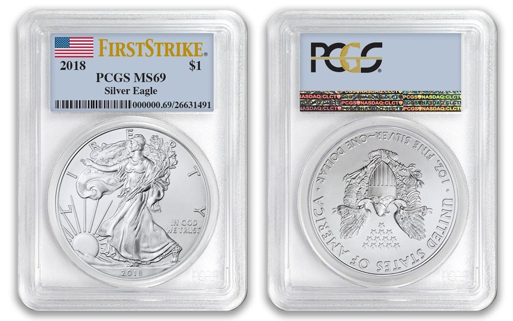 2019 $1 American Silver Eagle PCGS MS69 FDOI First Label 1 of 1000