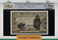 500 Francs 1965-79 West African States Senegal Pcgs 67 Ppq Superb