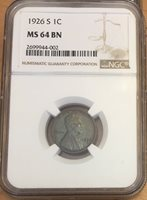 Choice 1926-S Lincoln Cent NGC MS 64 Brown