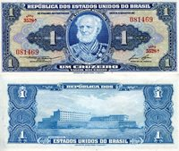 """Brazil 1 Cruzeiro Pick #: 150d 1954-58 aUNC (foxing)Other South American Currency Blue/Green Marques De Tamandare; Naval AcademyNote 6"""" x 2 3/4"""" South America None Discernible"""