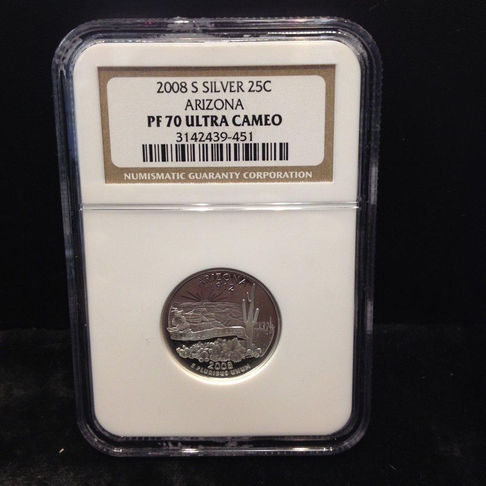 2008-S 25c Arizona SILVER State Flag Label Quarter Proof PCGS PR70DCAM