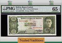 10 Pesos Bolivianos 1962 Bolivia Pmg 65 Epq Gem Pop 5 None Finer!