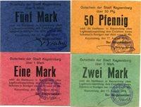 Kaysersberg, Lot de 4 cartons, 0,50, 1,2 et 5 mark, avec Entwertet au revers, P 68 145/148 Ttb à Superbe