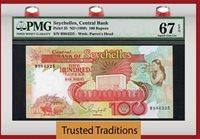 100 Rupees 1989 Seychelles Central Bank Pmg 67 Superb Gem None Finer